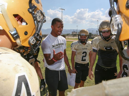 Former National Football League player James Dockery now coaches football at Xavier Prep in Palm Desert, August 23, 2017.