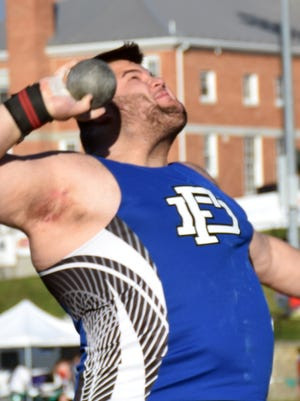 Fort Defiance's Zach Boyers won the shot put and placed second in the discus at the VHSL Region 3A West track meet on Thurdsday, May 25, 2017, at Fluvanna County High School in Palmyra, Va.