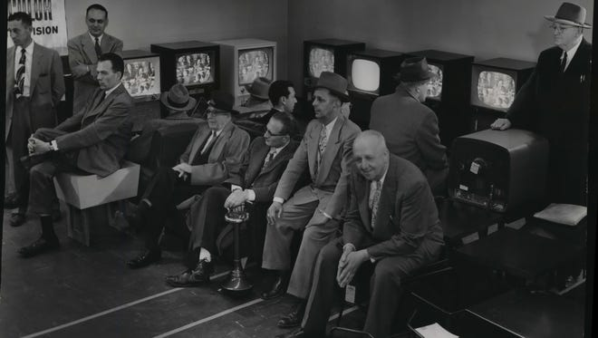 Onlookers watch the Army-McCarthy hearings at Gimbels Department Store in downtown Milwaukee on April 22, 1954. Both the morning and afternoon sessions that day were carried live by WTMJ-TV.