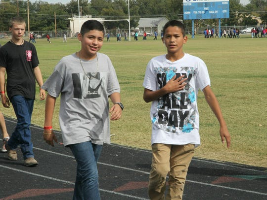 Students paid $1 to participate in the walkathon. Proceeds