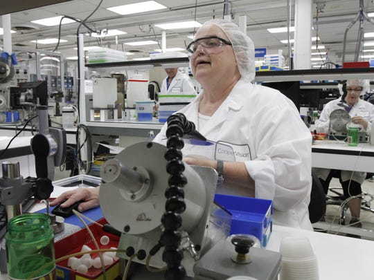 Janette Robertson works at the CooperVision manufacturing facility in Scottsville.