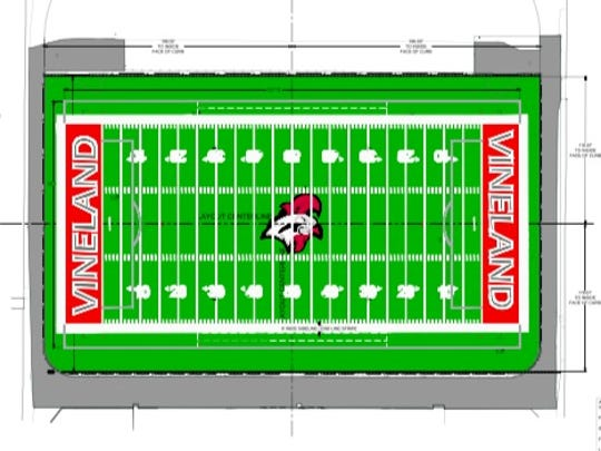 Layout of the Gittone Stadium synthetic turf project