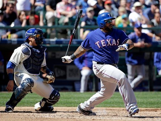 The Rangers' Prince Fielder is hitting .367 through his first 15 games this season.
