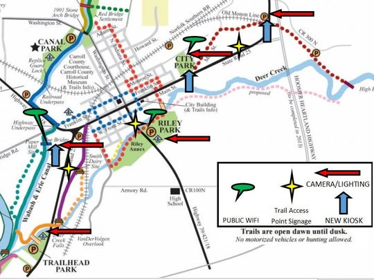 A map released Wednesday, July 5, 2017, outlines improvements to Dephi's historic trail system.