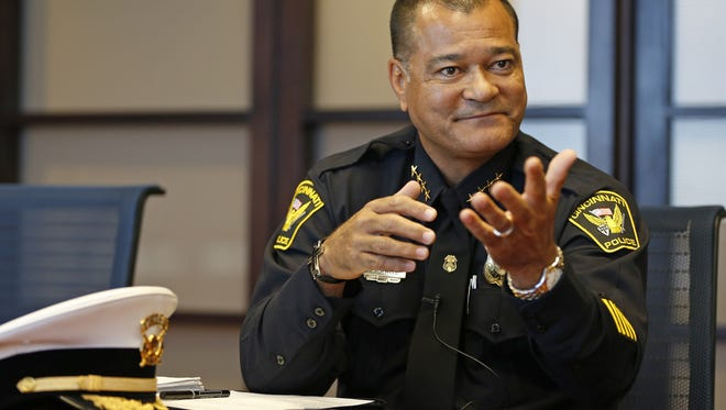 Cincinnati Police chief Jeffrey Blackwell is photographed during a meeting with the Enquirer's  editorial board on Oct. 9, 2013.