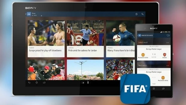 The FIFI app showing on Sony mobile devices.