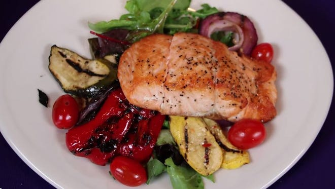 The Seared Salmon with Mixed Greens and Grilled Vegetables dish takes only 20 minutes to prepare and is rich in Omega 3s.