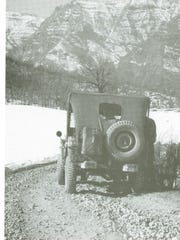 An American Jeep against the backdrop of the cliffs of Riva Ridge, which the 10th Mountain Division was about to attack in the winter of 1945. The Germans occupied the summit confident it was impossible for any force to attack their positions. They were wrong.