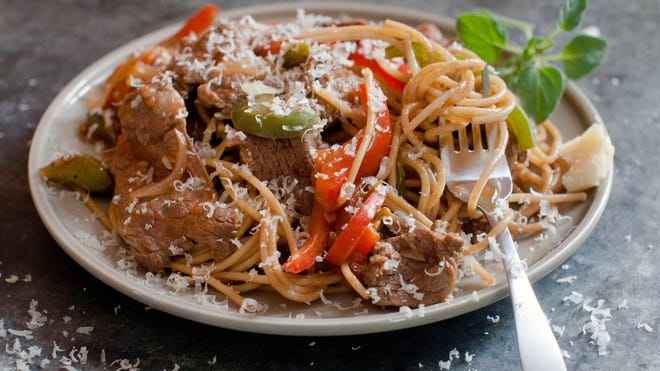 Easy Steak and Cheese Pasta makes a tasty home-cooked meal in minutes.