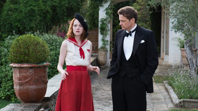 """This photo released by courtesy of Sony Pictures Classics shows Emma Stone, left, as Sophie and Colin Firth as Stanley, in a scene from the film, """"Magic in the Moonlight,"""" directed by Woody Allen."""