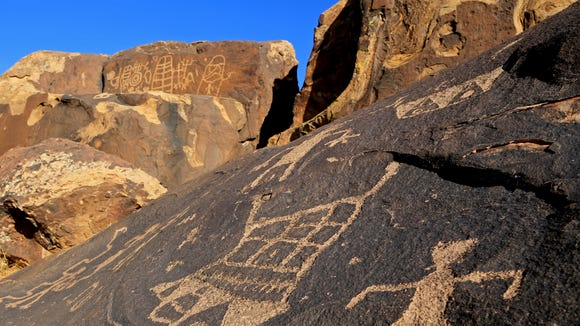 A few large petroglyph panels can be found at the Land Hill Site in the Santa Clara River Reserve.