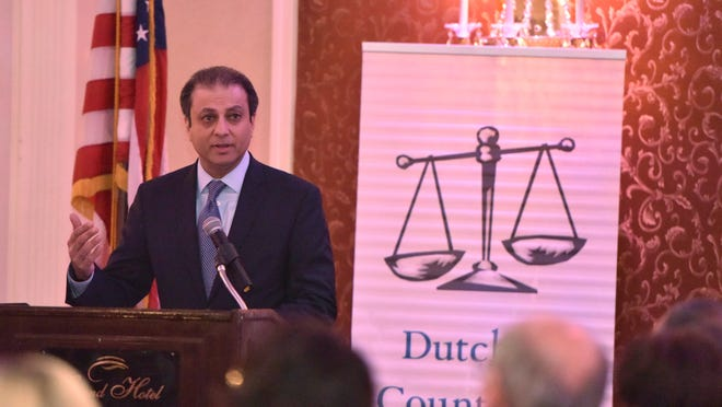 Preet Bharara, U.S. Attorney for the Southern District of New York, speaks during Law Day, hosted by the Dutchess County Bar Association at the Grand Hotel in Poughkeepsie on Thursday.