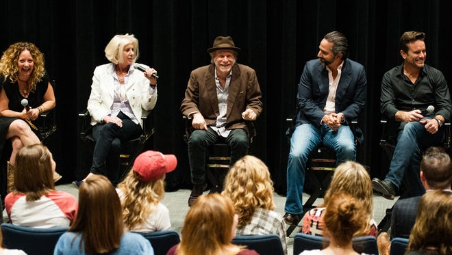 "Frankie Pine, left, Callie Khouri, Buddy Miller, Taylor Hamra and Charles Esten of ABC's ""Nashville"" talk Wednesday with students at Belmont University."