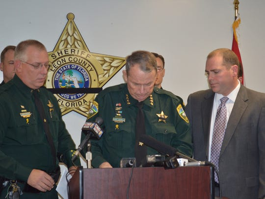 Leon County Sheriff Larry Campbell is overcome by emotion