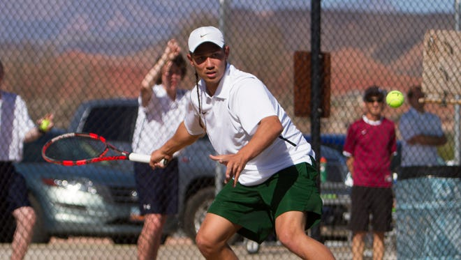 Pine View and Snow Canyon boys tennis compete at Snow Canyon High Thursday, March 17, 2016.