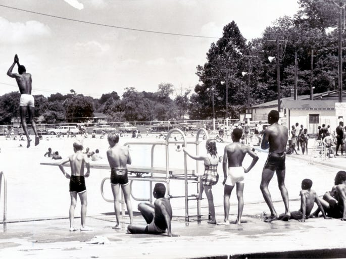 Beating the heat in the swimming pool at Broad Ripple, 1965