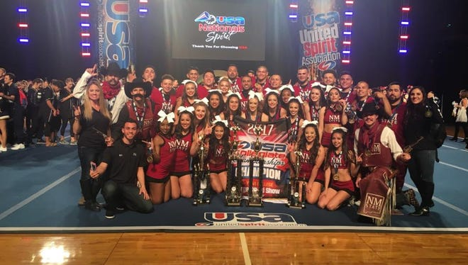 The New Mexico State Cheerleading Team won top honors in the United Spirit Association Collegiate Championships large coed division on March 25-26 in Anaheim, California.