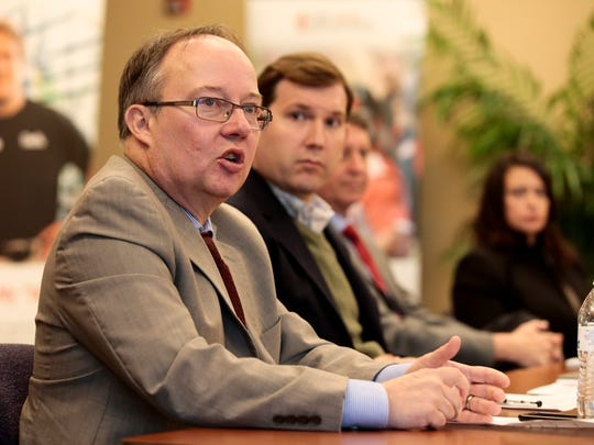 Jan Moller of the Louisiana Budget Project, speaks during the Acadiana Press ClubÕs March Newsmakers forum on the special session and the current session of the Louisiana Legislature in Lafayette March 21, 2016. Also on the panel were, left to right, Jason El Koubi of One Acadiana, Robert Scott of the Public Affairs Research Council and Dawn Starns of the National Federation of Independent Businesses.
