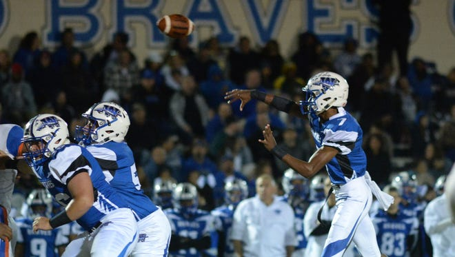 Williamstown quarterback Jonathan Collins throws a pass during a game earlier this season.