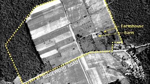 Sept. 15, 1937 Aerial Photo with Property Boundary from York County Deed 12K-302 Plotted as Dotted Lines (Historic Aerial Photo from Penn Pilot; Annotations by S. H. Smith, 2016)