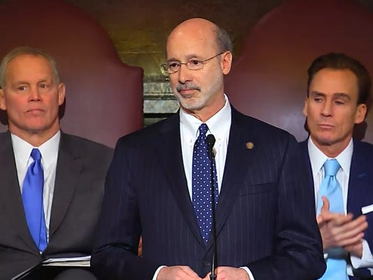 Gov. Tom Wolf presents his 2015-16 budget proposal to the Pennsylvania General Assembly in this file photo.
