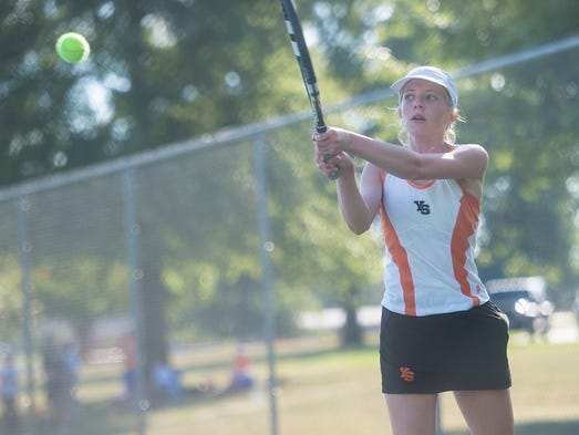 York Suburban's Liv Pindzola swings during her match