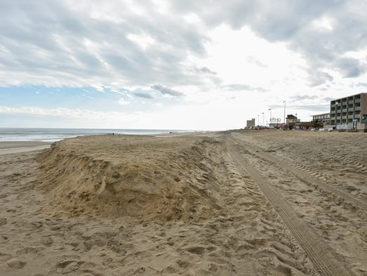 View of a sand cliff that formed from the latest nor'easter