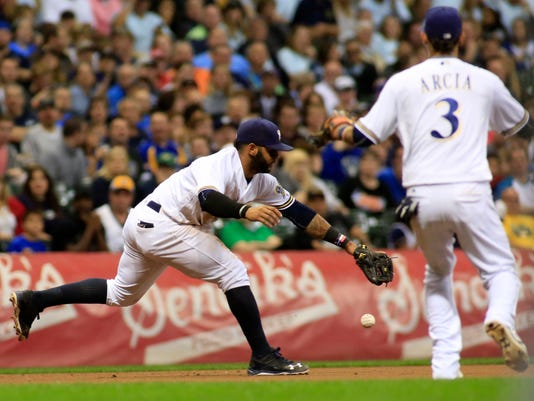 Milwaukee Brewers shortstop Jonathan Villar,  bobbles the ball hit for a single from Cincinnati Reds' Eugenio Suarez during the sixth inning of a baseball game Saturday, Sept. 24, 2016, in Milwaukee. (AP Photo/Darren Hauck)