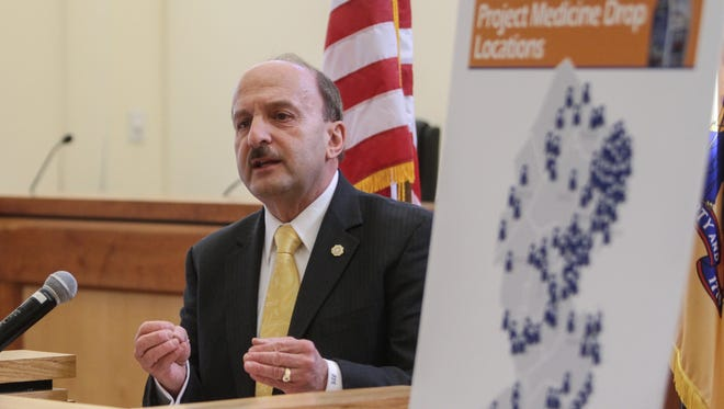 """Ocean County Prosecutor Joseph D. Coronato on an official visit to Little Egg Harbor Township in 2015 to promote """"Project Medicine Drop."""""""