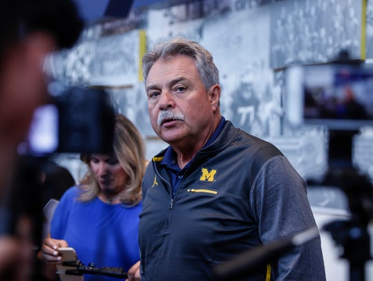 Michigan defensive coordinator Don Brown answers questions
