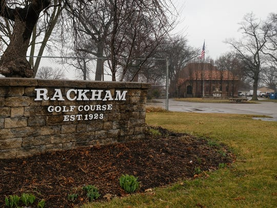 A sign at the entrance to Rackham Golf Course in Huntington Woods is seen on Thursday, March 29, 2018.