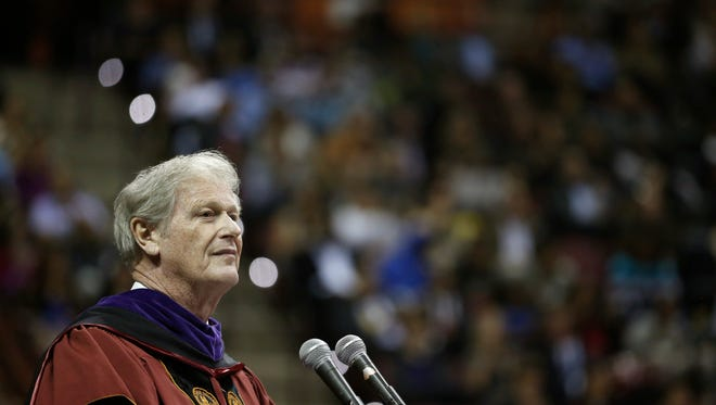 Joe Rondone/DemocratFlorida State University President John Thrasher speaks during the fall graduating class commencement ceremony at the Civic Center on Friday.