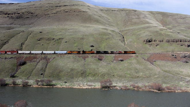 Sometimes, along the lower Deschutes River Trail, you can see a more modern incarnation of a train. Sometimes, along the lower Deschutes River Trail, which follows an old railroad bed, you can see more modern incarnation of a train.