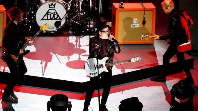 Fall Out Boy performs after the first first period during the 2015 Honda NHL All-Star Game at Nationwide Arena on Jan. 25, 2015, in Columbus, Ohio.