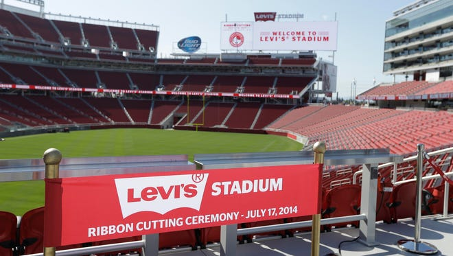 A ribbon prop for a photo booth is shown on the opening day of Levi's Stadium Thursday, July 17, 2014, in Santa Clara, Calif. The San Francisco 49ers held a ribbon-cutting ceremony to officially open their new home. The $1.2 billion Levi's Stadium, which took only about 27 months to build, also will host the NFL Super Bowl in 2016 and other major events.