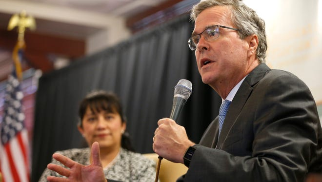 Former Florida Governor Jeb Bush speaks at the FSU Alumni Center during the Keeping the Promise: A Florida Education Summit, hosted by the Foundation for Florida's Future on Tuesday, Feb. 10, 2015.