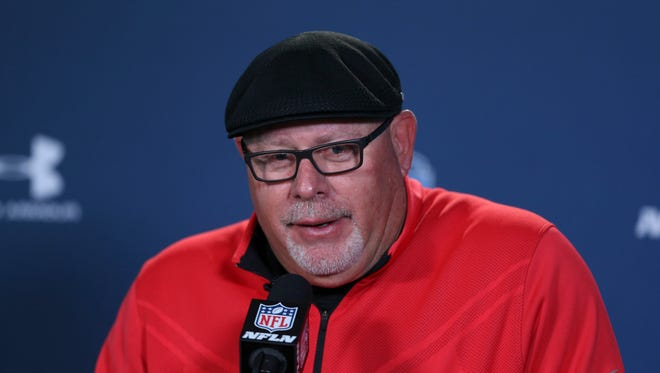 Arizona Cardinals coach Bruce Arians speaks to the media during the 2015 NFL Combine at Lucas Oil Stadium in Indianapolis on Feb. 19, 2015.