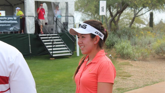 Hannah O'Sullivan smiles after her first round at the Gateway Classic.
