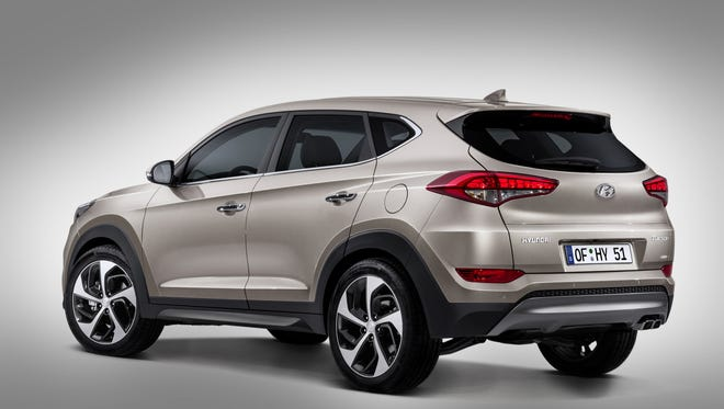The redesigned 2016 Hyundai Tucson being unveiled at the Geneva Motor Show.
