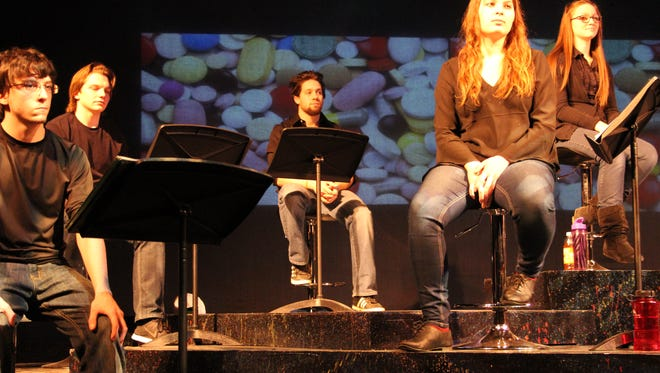 UWFDL Students, Nathan Rector, Nathaniel Hounsell, Mike Blanck, Cassandra Rusch and Chalsey Jenkins rehearse A Sparrow Falls.
