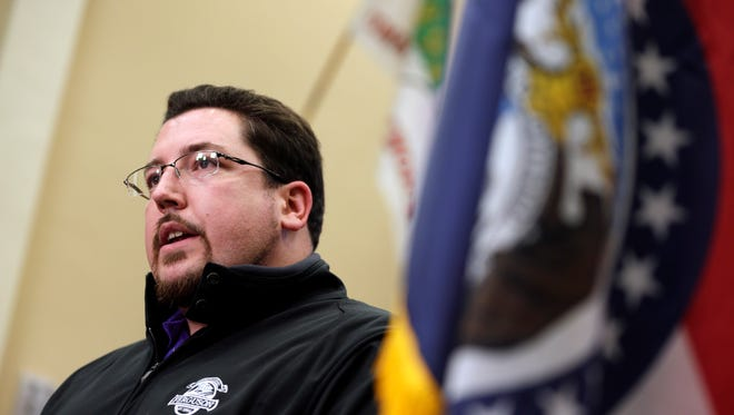 Ferguson Mayor James Knowles III announces the resignation of police chief Thomas Jackson during a news conference March 11, 2015