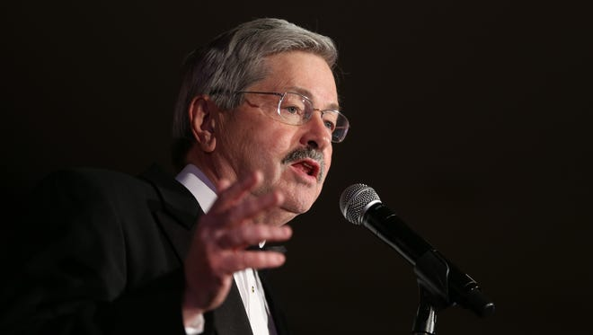 Iowa governor Terry Branstad speaks during the Iowa Governor's Inaugural Ball on Friday, Jan. 16, 2015, at the Iowa Community Choice ball room inside the Iowa Events Center in Des Moines, Iowa.