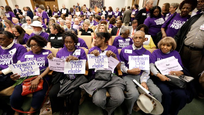 Supporters of Gov. Bill Haslam's Insure Tennessee proposal attend a meeting of the Senate Commerce Committee to hear debate on the measure Tuesday, March 31, 2015, in Nashville, Tenn. The proposal to extend health coverage to about 280,000 low-income Tennesseans was defeated 6-2. (AP Photo/Mark Humphrey)