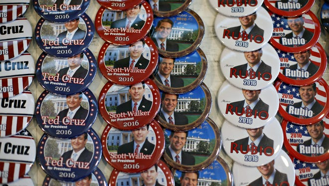 Political buttons on sale at the Iowa Faith & Freedom Coalition Saturday, April 25, 2015.