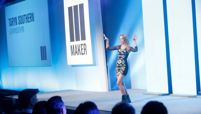 YouTuber Taryn Southern presents at the Maker Studios NewFront presentation to advertisers.