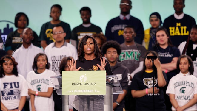 First lady Michelle Obama speaks at Detroit's first-ever citywide College Signing Day at Wayne State University on Friday.