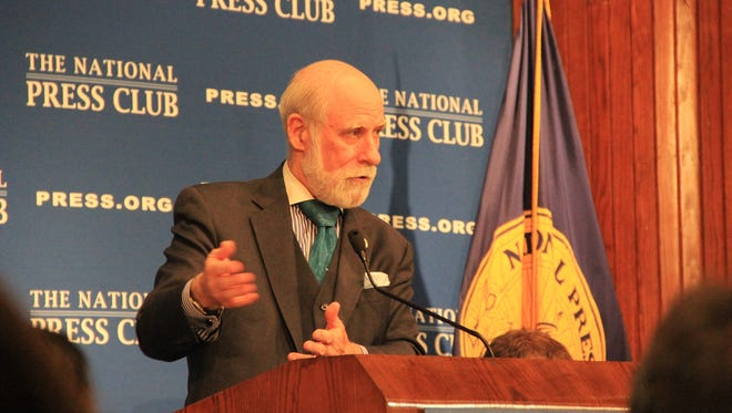 Internet pioneer Vint Cerf speaks at the National Press Club, May 4, 2015.