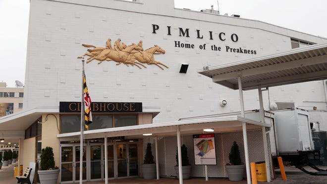 May 14, 2014; Baltimore, MD, USA; A general view of Pimlico Race Course in preparation for the 2014 Preakness Stakes. Mandatory Credit: Mitch Stringer-USA TODAY Sports
