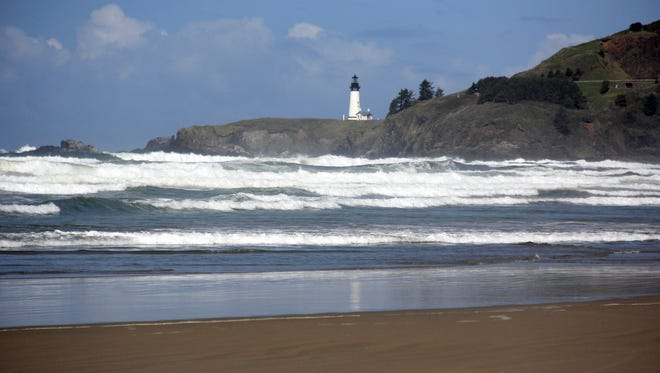 Yaquina Head Lighthouse from Nye Beach area.