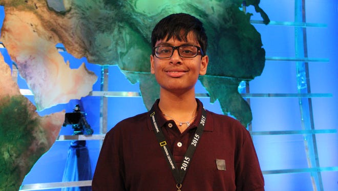Karan Menon, a 14-year-old eighth grader from Edison, N.J., won first place at the 2015 National Geographic Bee held Wednesday in Washington, D.C.